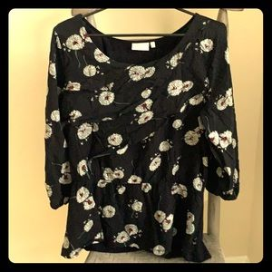 Anthropologie Deletta Open Sleeve Black Floral Top